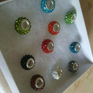 Jewelry - sterling Pandora spacer beads with swatovski stone